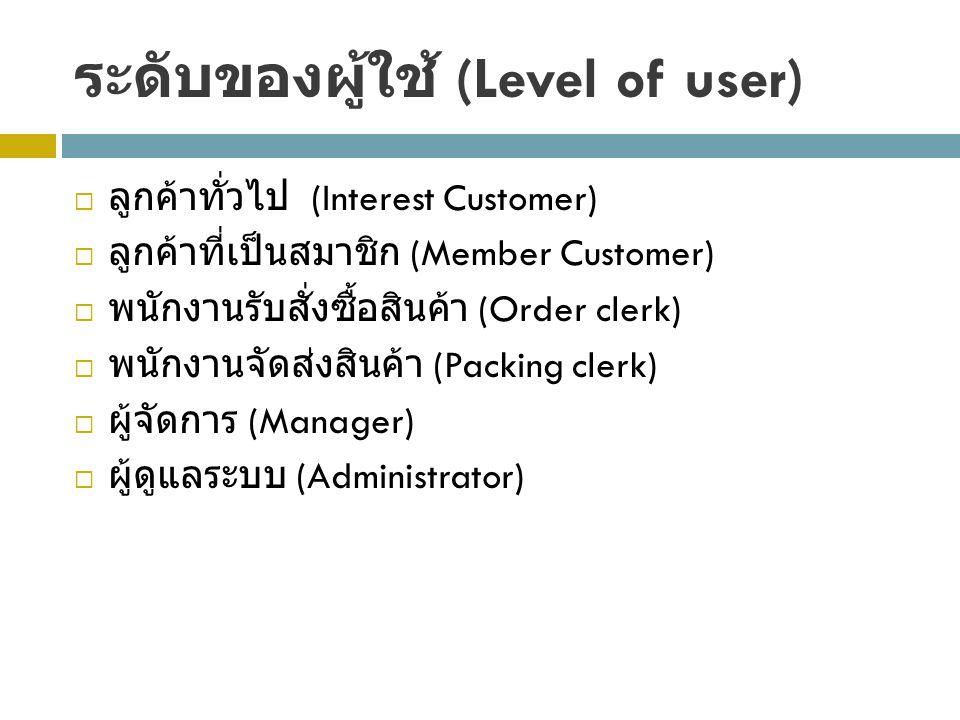 ระดับของผู้ใช้ (Level of user)
