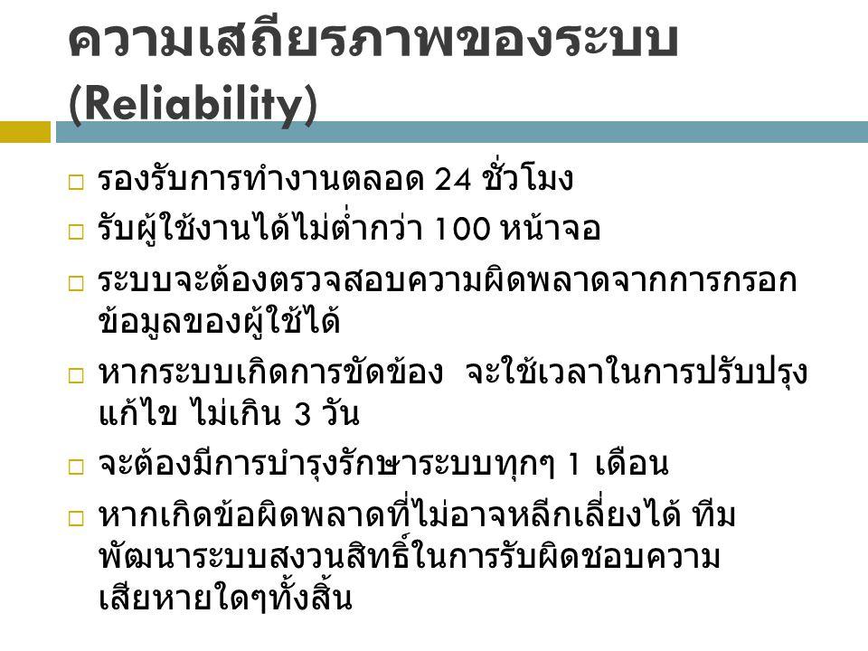 ความเสถียรภาพของระบบ (Reliability)