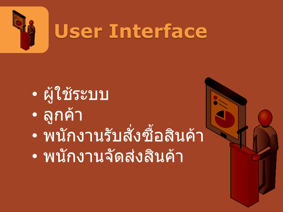User Interface ผู้ใช้ระบบ ลูกค้า พนักงานรับสั่งซื้อสินค้า
