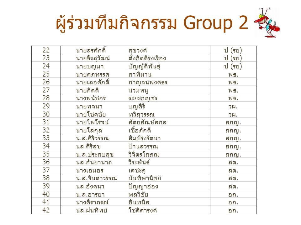 ผู้ร่วมทีมกิจกรรม Group 2