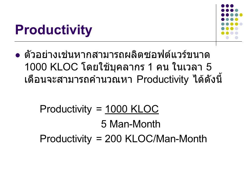 Productivity ตัวอย่างเช่นหากสามารถผลิตซอฟต์แวร์ขนาด 1000 KLOC โดยใช้บุคลากร 1 คน ในเวลา 5 เดือนจะสามารถคำนวณหา Productivity ได้ดังนี้