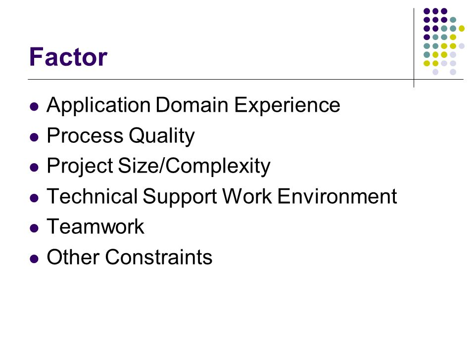 Factor Application Domain Experience Process Quality