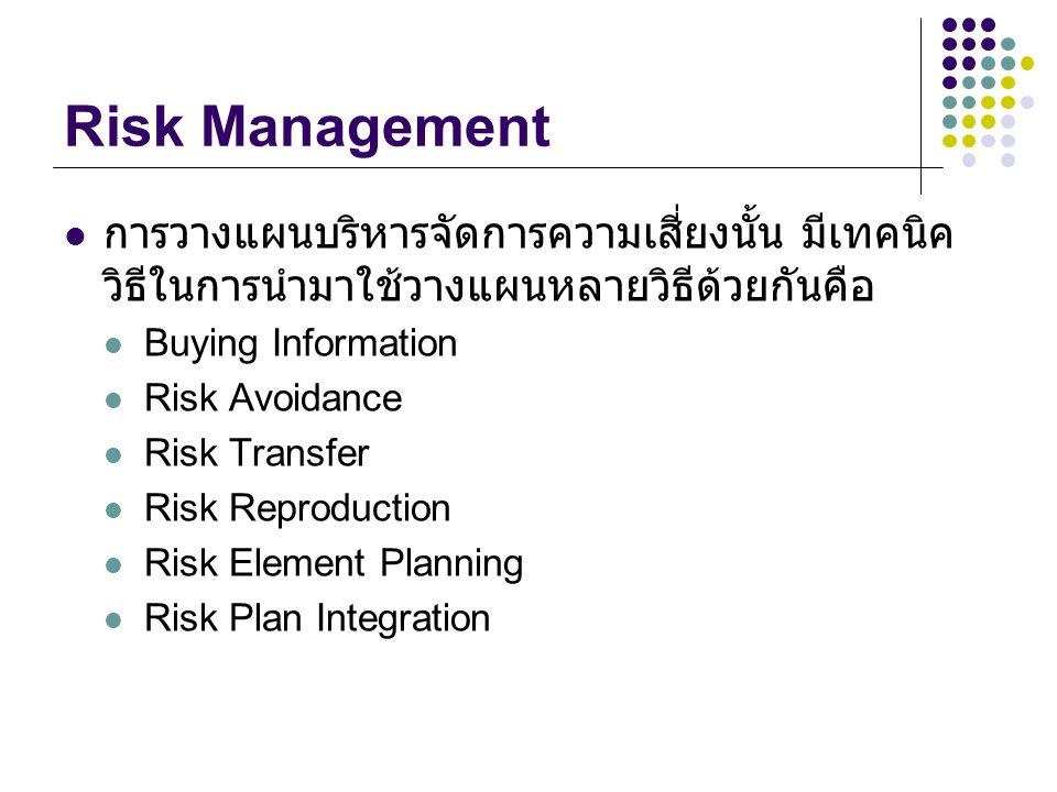 Risk Management การวางแผนบริหารจัดการความเสี่ยงนั้น มีเทคนิควิธีในการนำมาใช้วางแผนหลายวิธีด้วยกันคือ.