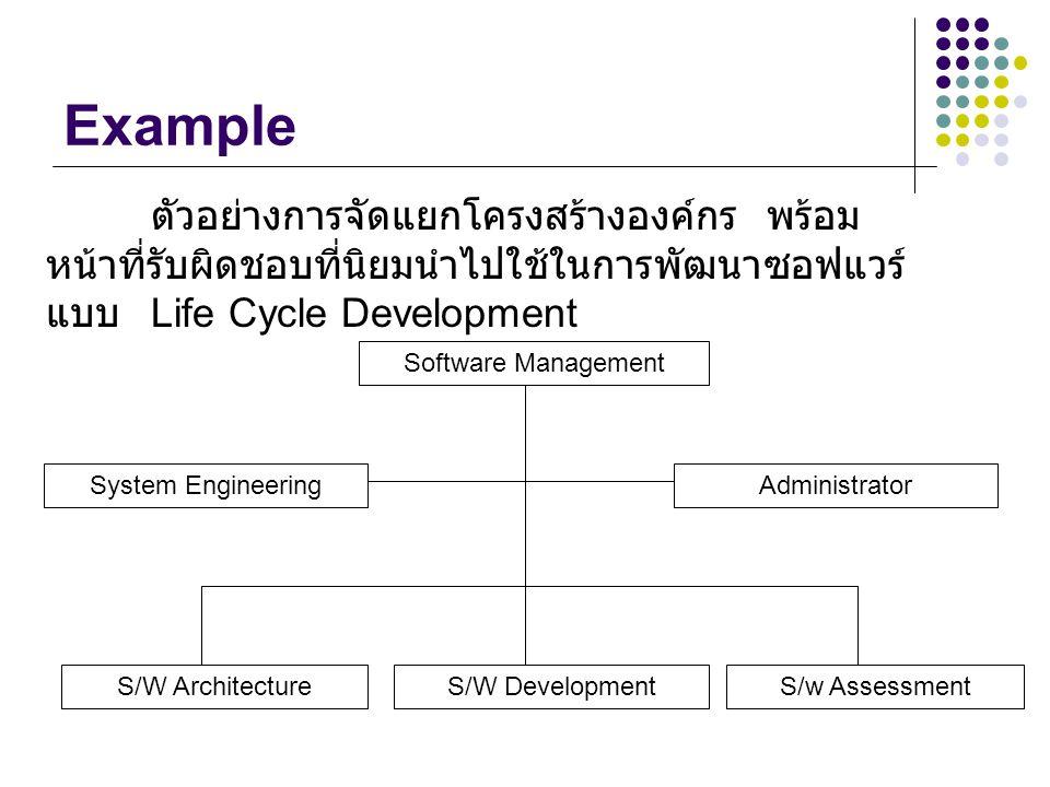 Example ตัวอย่างการจัดแยกโครงสร้างองค์กร พร้อมหน้าที่รับผิดชอบที่นิยมนำไปใช้ในการพัฒนาซอฟแวร์แบบ Life Cycle Development.