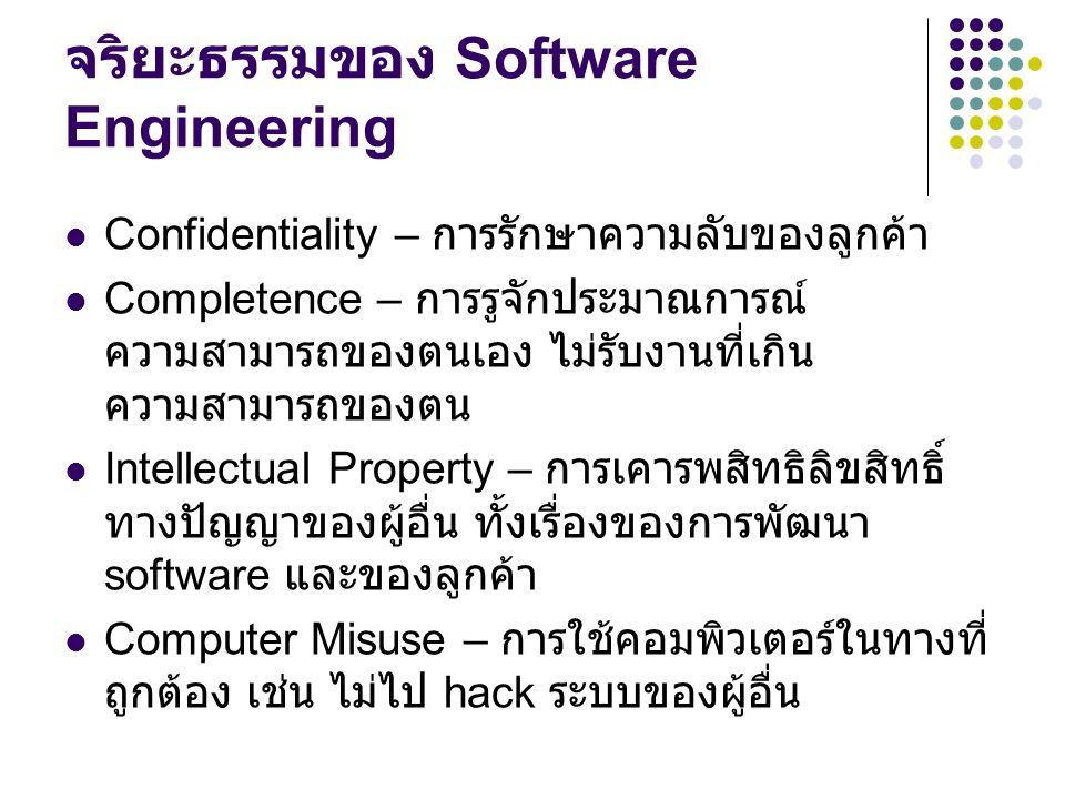 จริยะธรรมของ Software Engineering