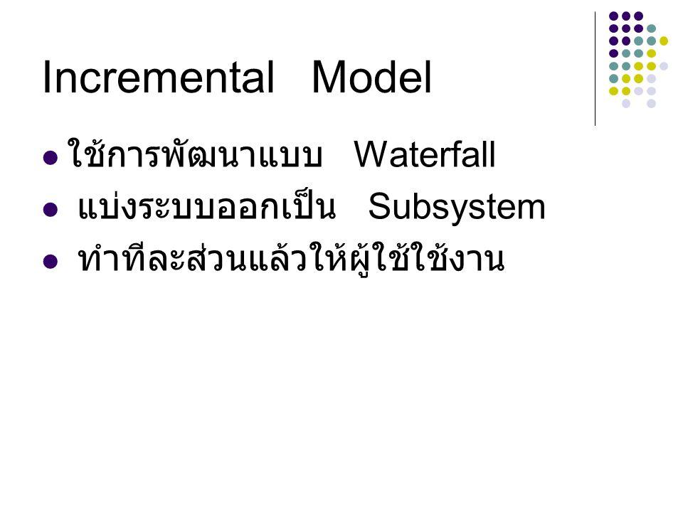 Incremental Model ใช้การพัฒนาแบบ Waterfall แบ่งระบบออกเป็น Subsystem