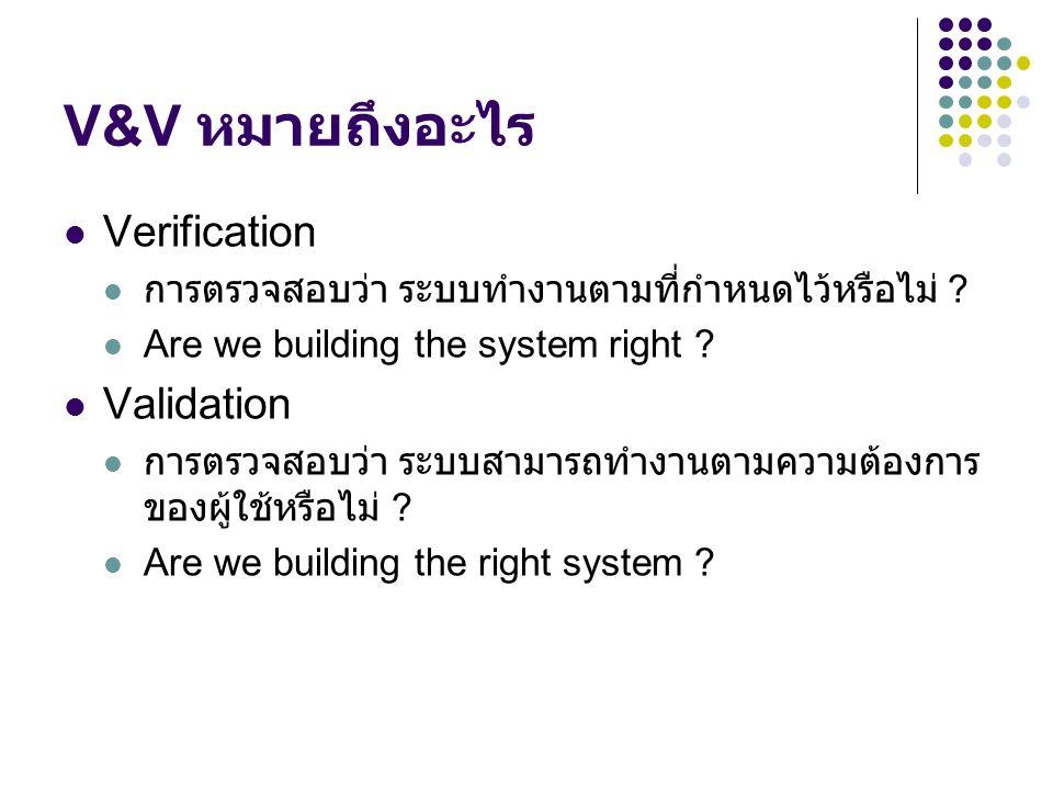 V&V หมายถึงอะไร Verification Validation