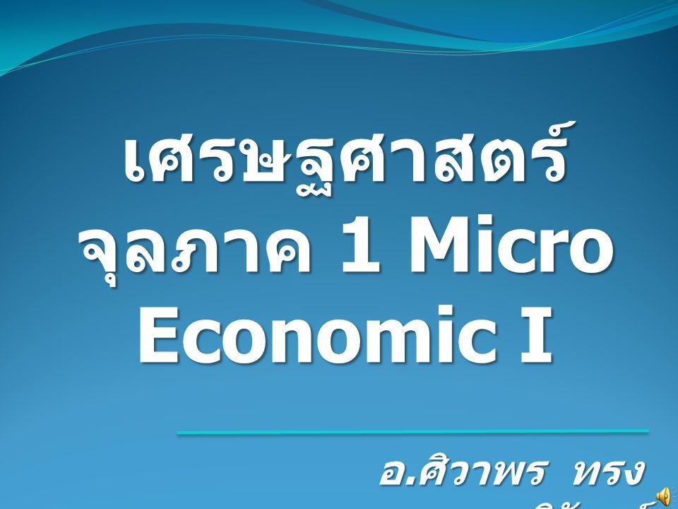 เศรษฐศาสตร์จุลภาค 1 Micro Economic I