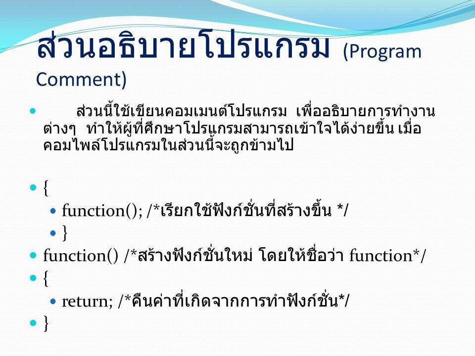 ส่วนอธิบายโปรแกรม (Program Comment)