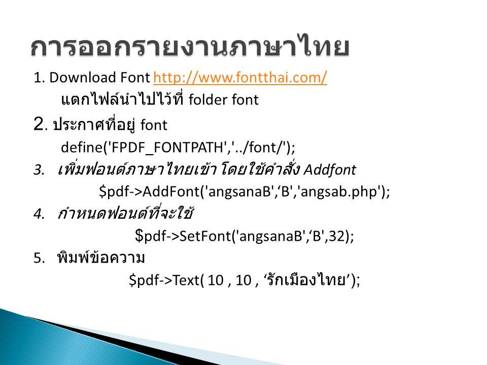 การออกรายงานภาษาไทย 2. ประกาศที่อยู่ font