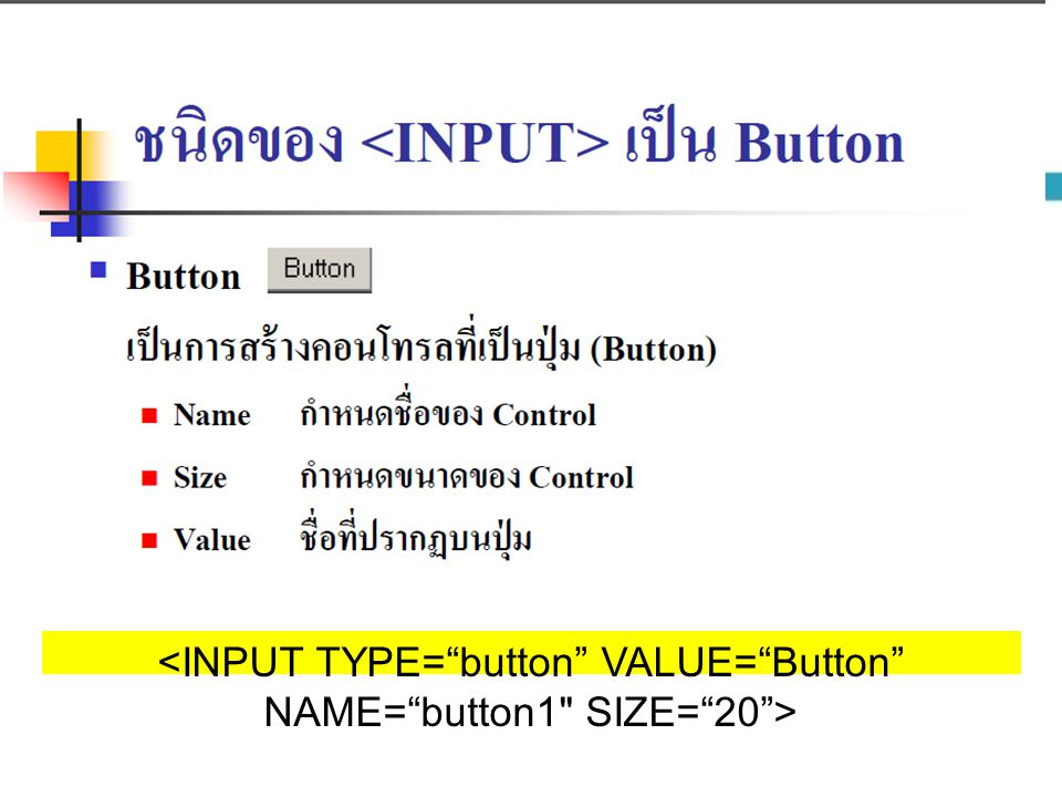 <INPUT TYPE= button VALUE= Button NAME= button1 SIZE= 20 >
