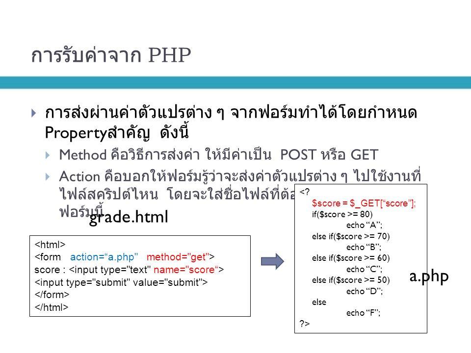การรับค่าจาก PHP grade.html a.php