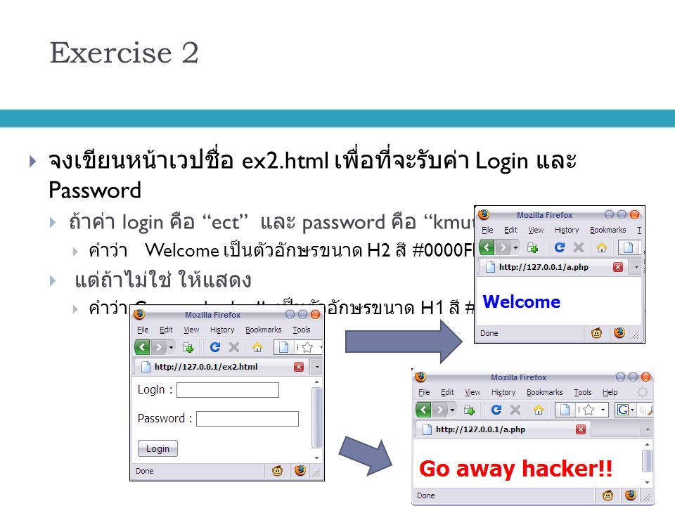 Exercise 2 จงเขียนหน้าเวปชื่อ ex2.html เพื่อที่จะรับค่า Login และ Password. ถ้าค่า login คือ ect และ password คือ kmutnb ให้แสดง.