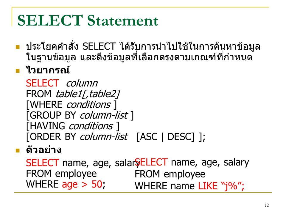 SELECT Statement ประโยคคำสั่ง SELECT ได้รับการนำไปใช้ในการค้นหาข้อมูลในฐานข้อมูล และดึงข้อมูลที่เลือกตรงตามเกณฑ์ที่กำหนด.