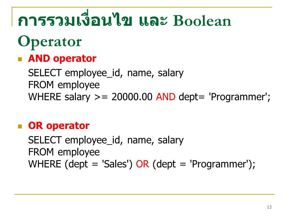 การรวมเงื่อนไข และ Boolean Operator
