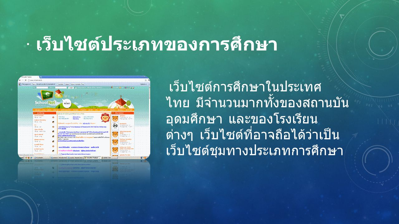 · เว็บไซต์ประเภทของการศึกษา