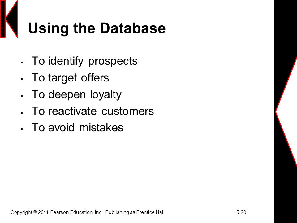 Using the Database To identify prospects To target offers