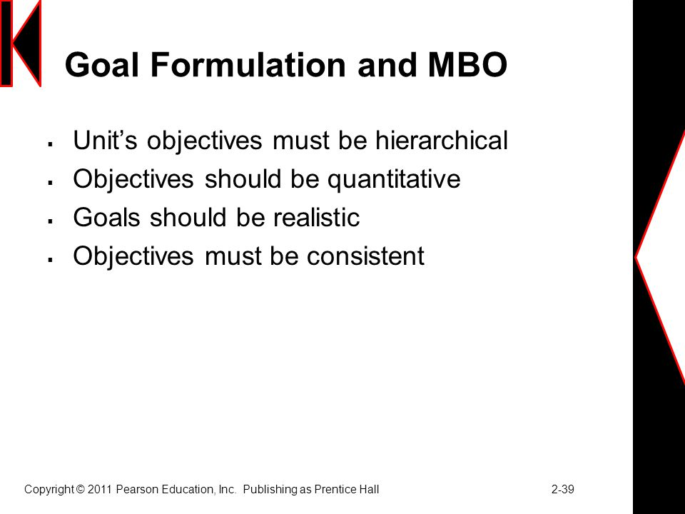 Goal Formulation and MBO
