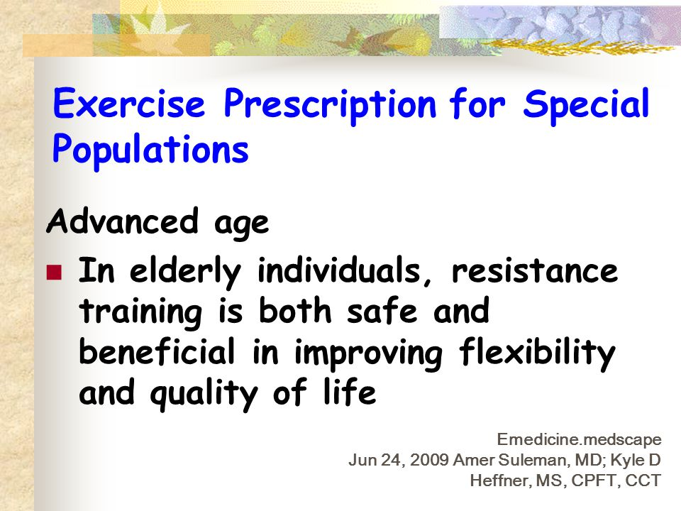 Exercise Prescription for Special Populations