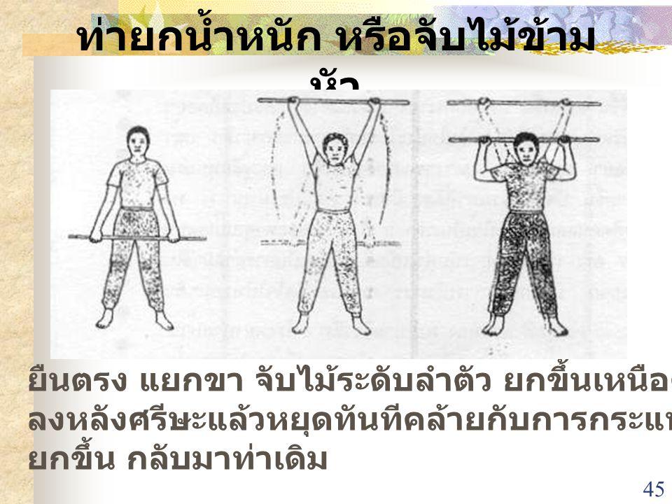 ท่ายกน้ำหนัก หรือจับไม้ข้ามหัว