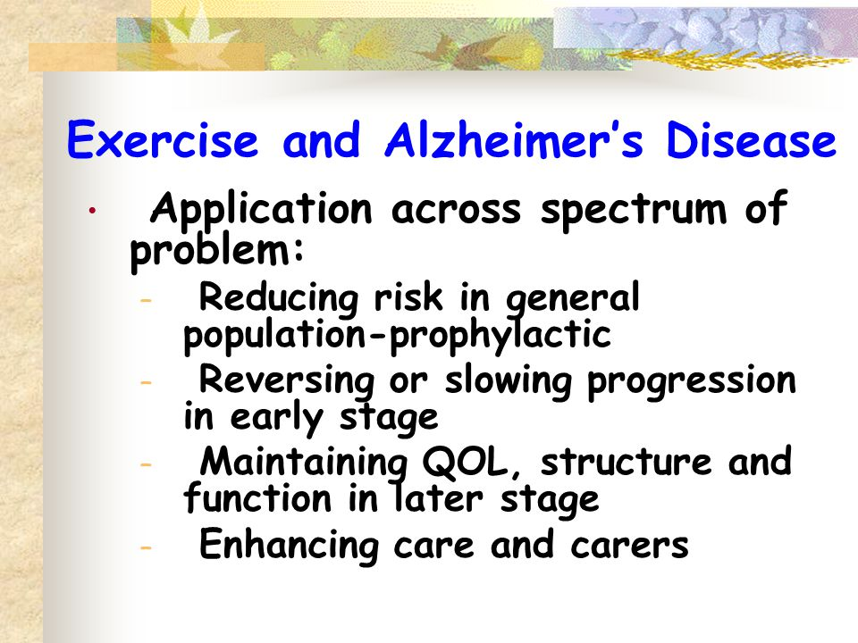 Exercise and Alzheimer's Disease