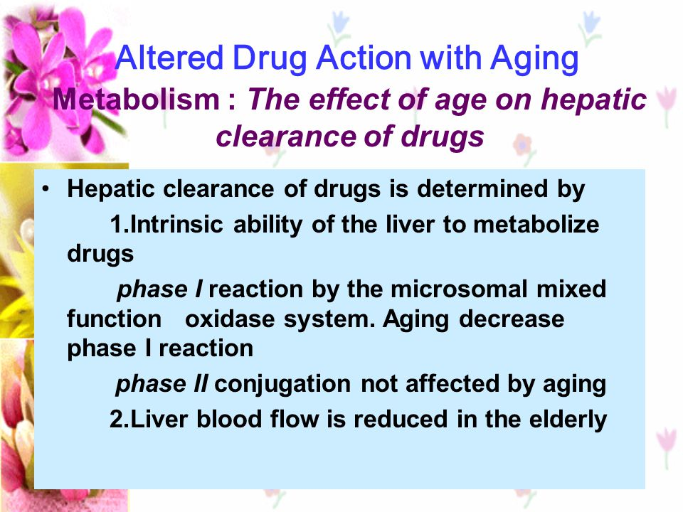 Metabolism : The effect of age on hepatic clearance of drugs