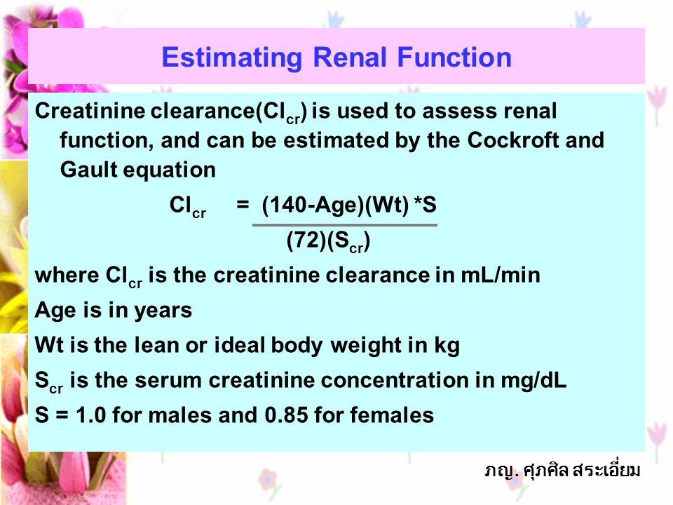Estimating Renal Function