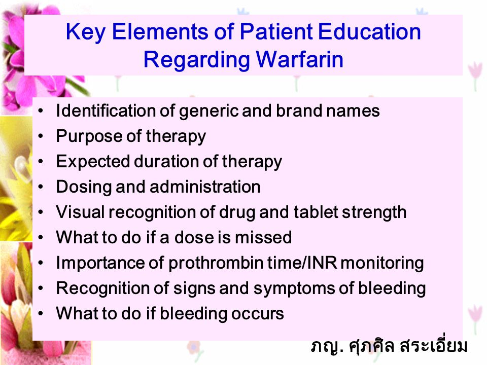 Key Elements of Patient Education Regarding Warfarin