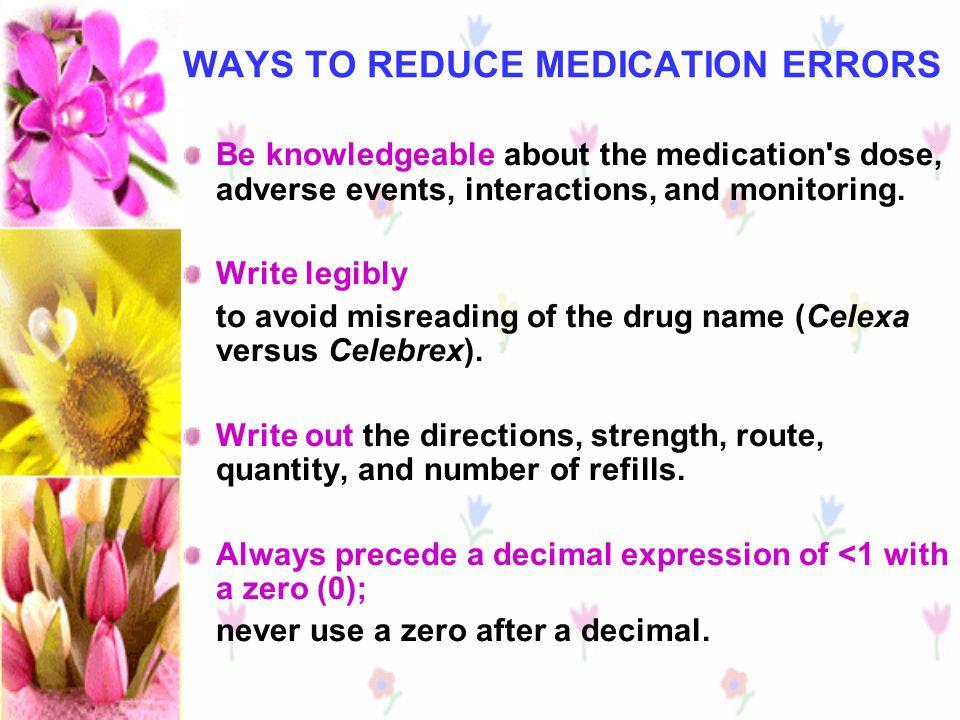 WAYS TO REDUCE MEDICATION ERRORS