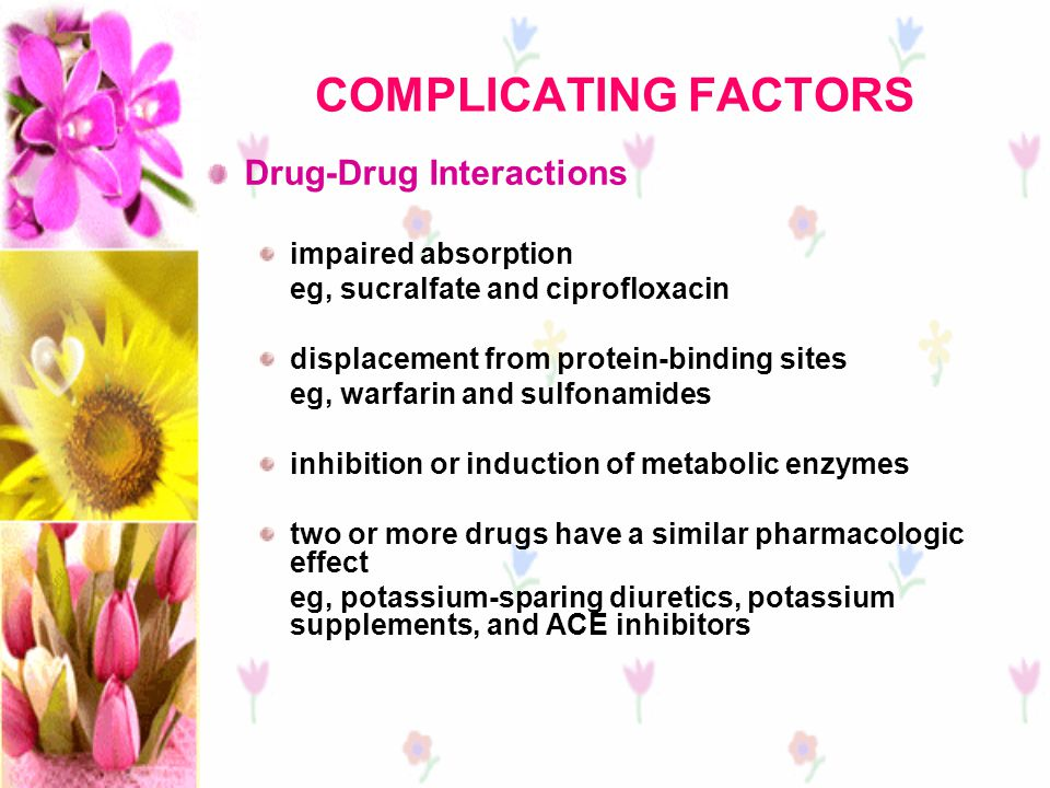COMPLICATING FACTORS Drug-Drug Interactions impaired absorption