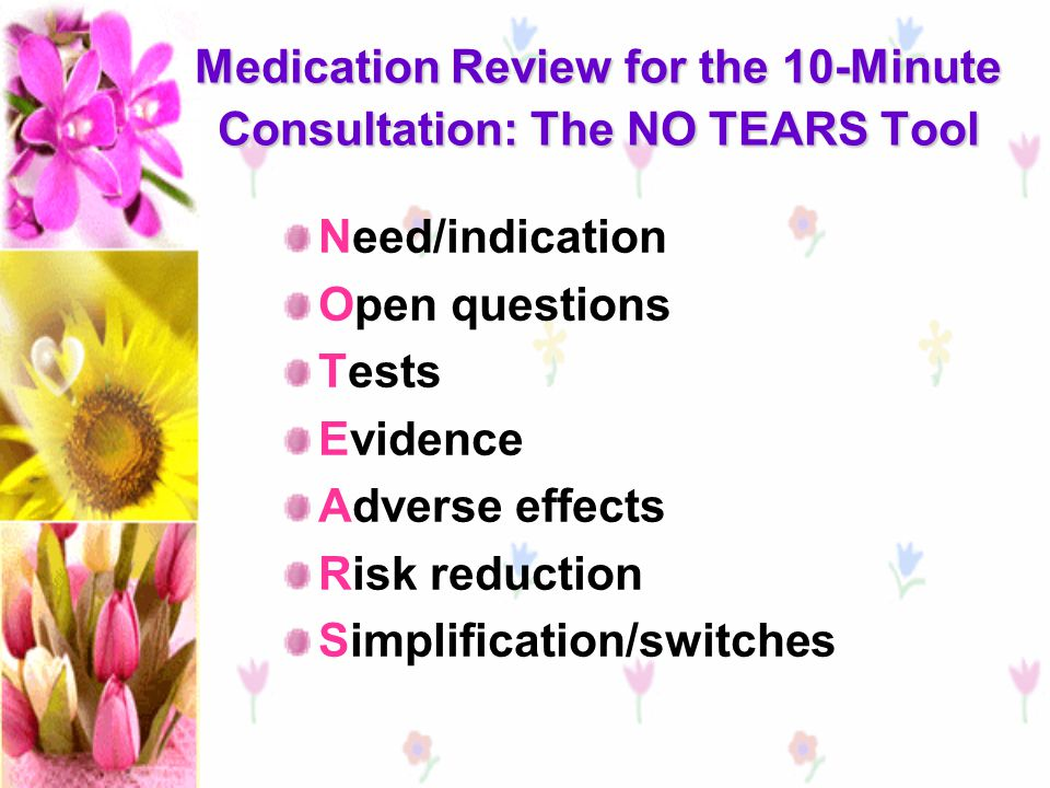Medication Review for the 10-Minute Consultation: The NO TEARS Tool