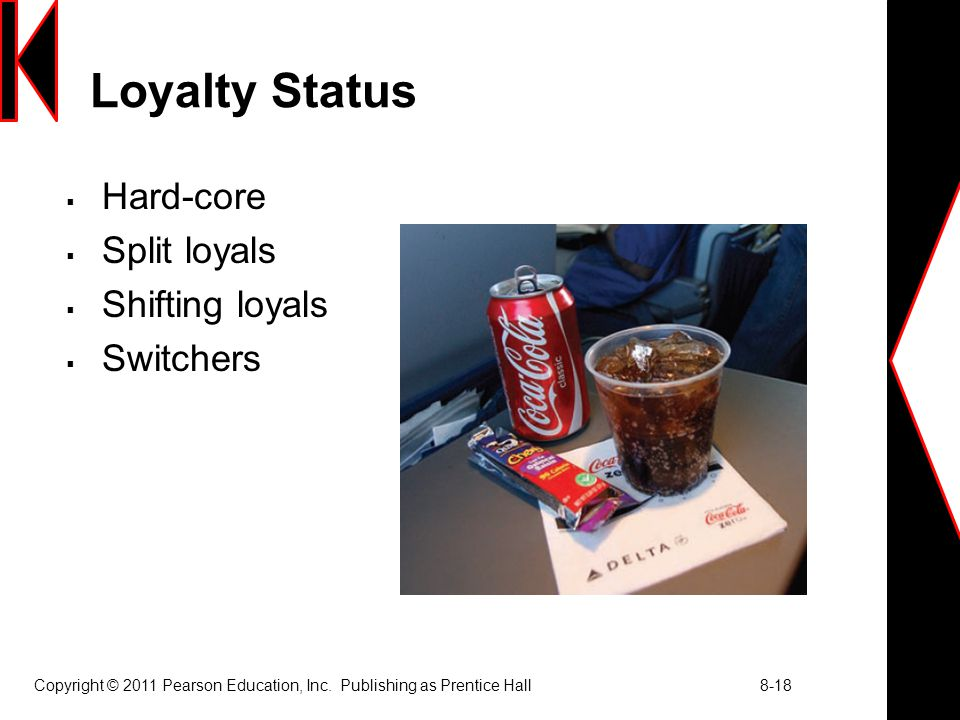 Loyalty Status Hard-core Split loyals Shifting loyals Switchers