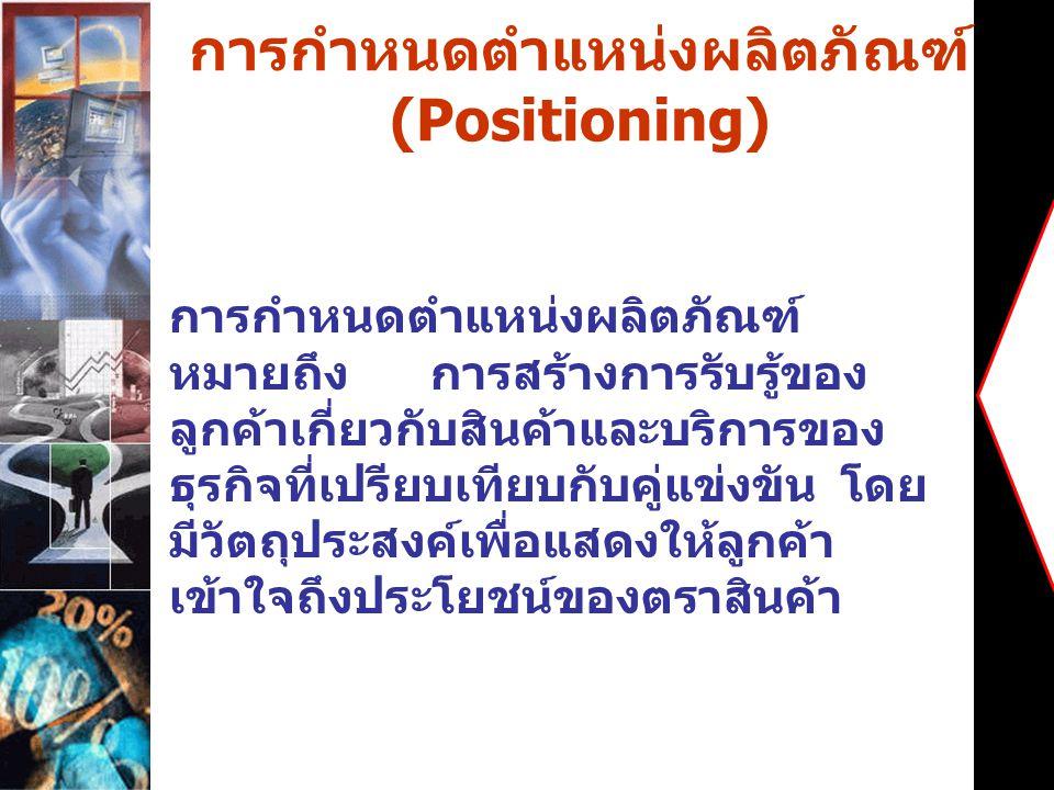 การกำหนดตำแหน่งผลิตภัณฑ์ (Positioning)