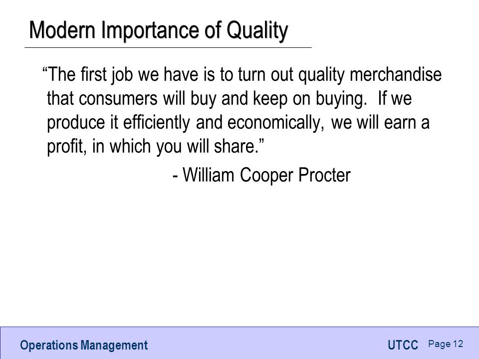 Modern Importance of Quality