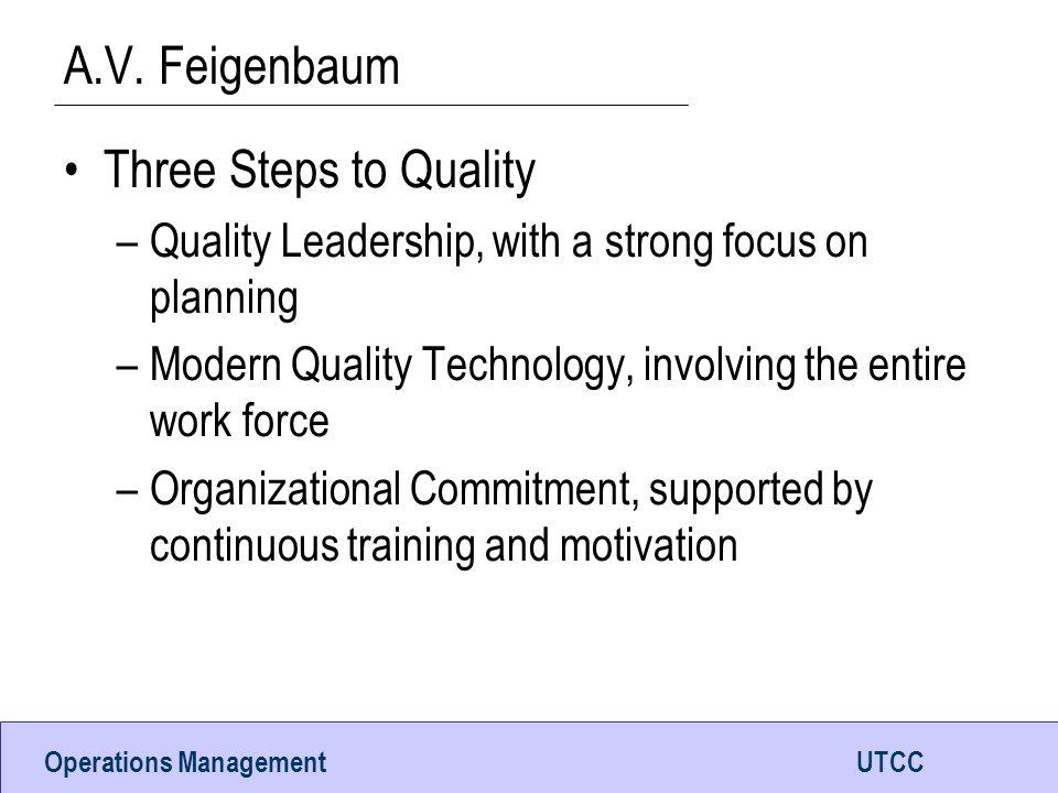 A.V. Feigenbaum Three Steps to Quality