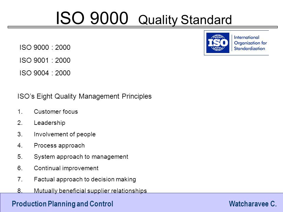 ISO 9000 Quality Standard ISO 9000 : 2000 ISO 9001 : 2000