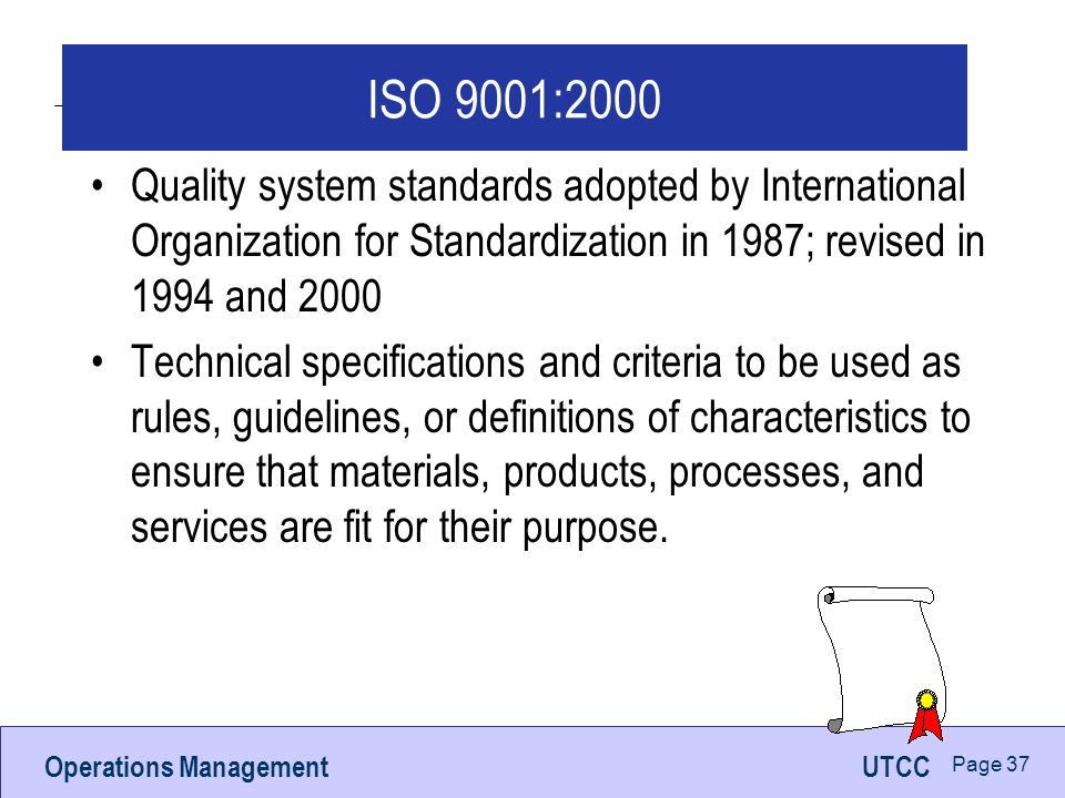 ISO 9001:2000 Quality system standards adopted by International Organization for Standardization in 1987; revised in 1994 and 2000.