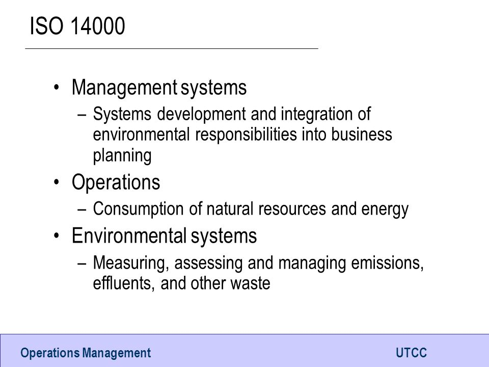 ISO 14000 Management systems Operations Environmental systems