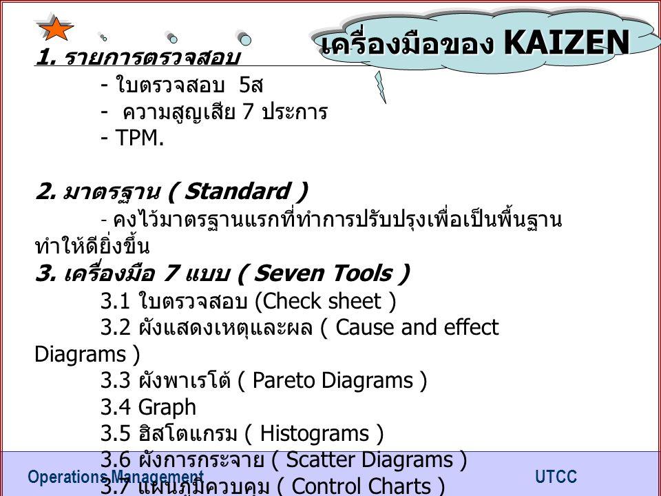 เครื่องมือของ KAIZEN 1. รายการตรวจสอบ - ใบตรวจสอบ 5ส