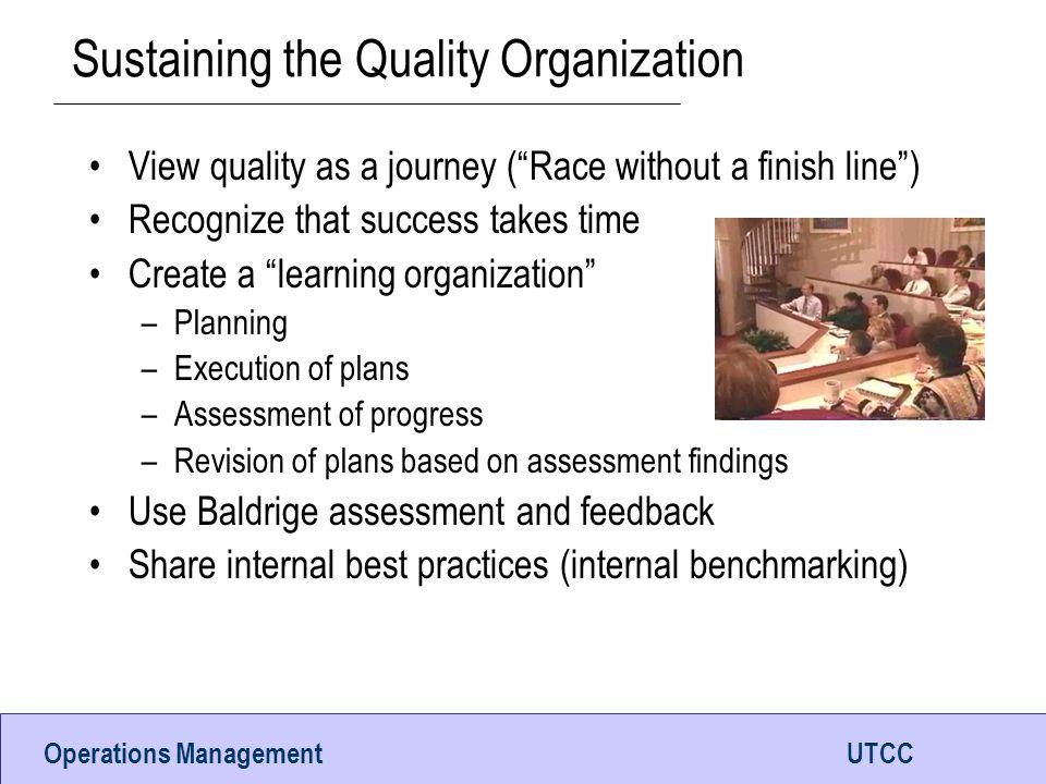 Sustaining the Quality Organization