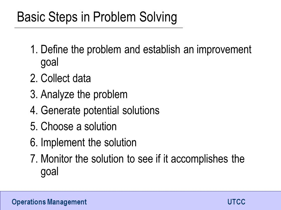 Basic Steps in Problem Solving