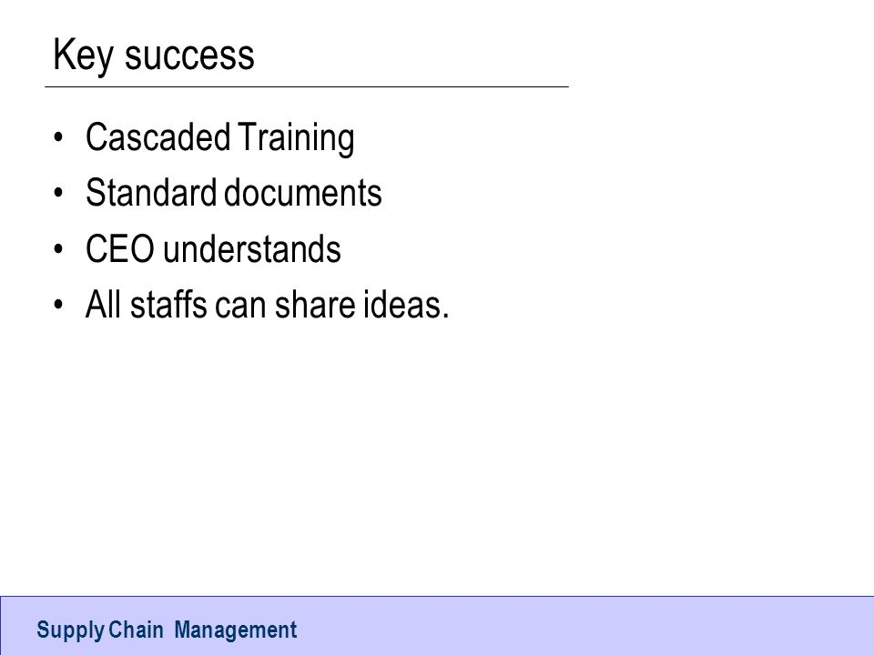 Key success Cascaded Training Standard documents CEO understands