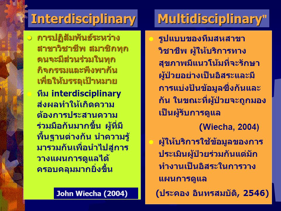 Interdisciplinary Multidisciplinary
