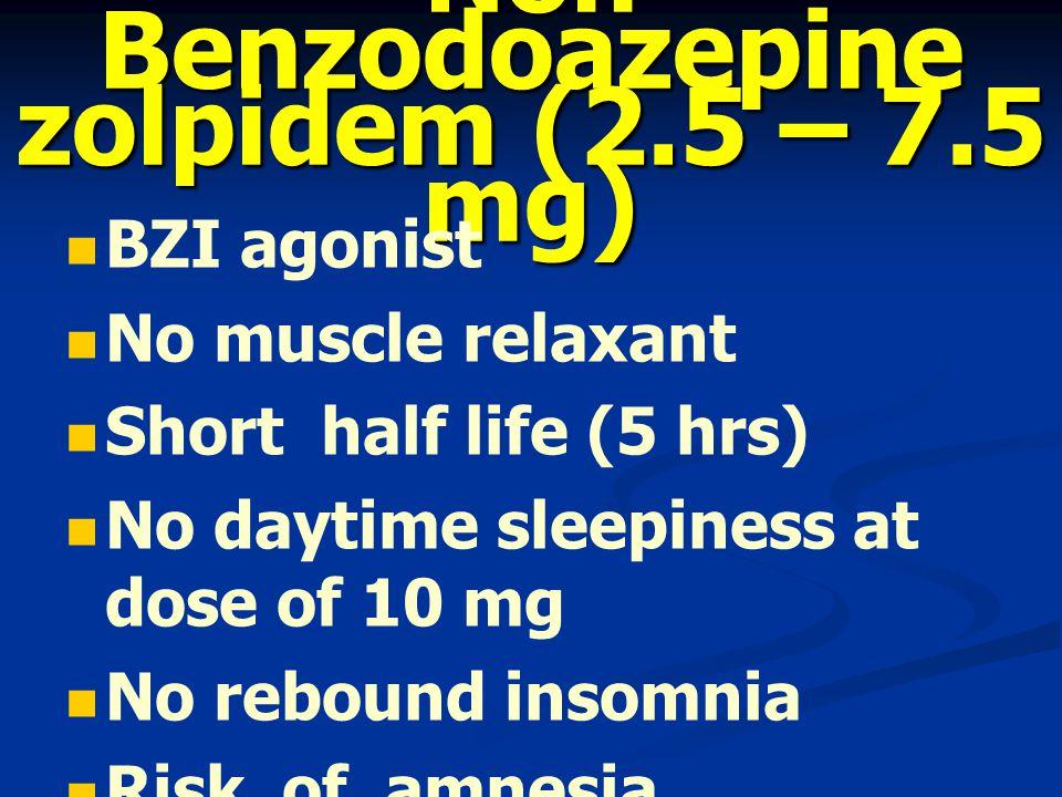Non Benzodoazepine zolpidem (2.5 – 7.5 mg)