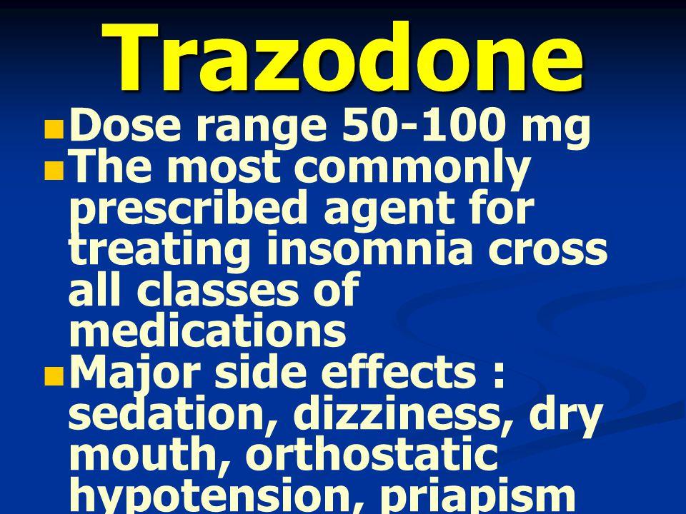 Trazodone Dose range 50-100 mg