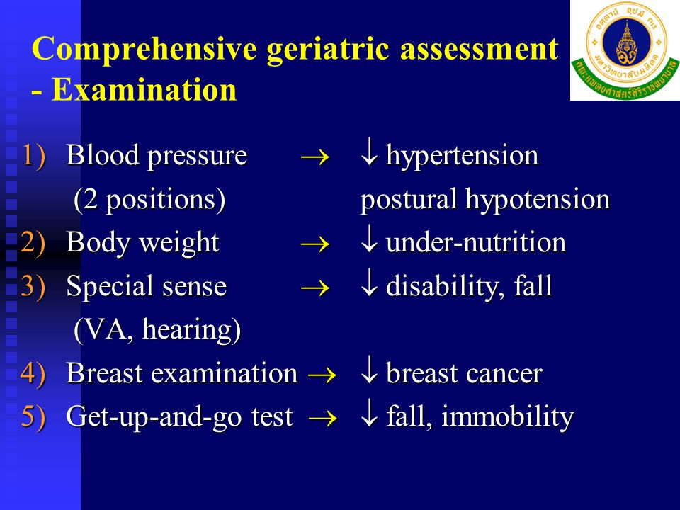 Comprehensive geriatric assessment - Examination