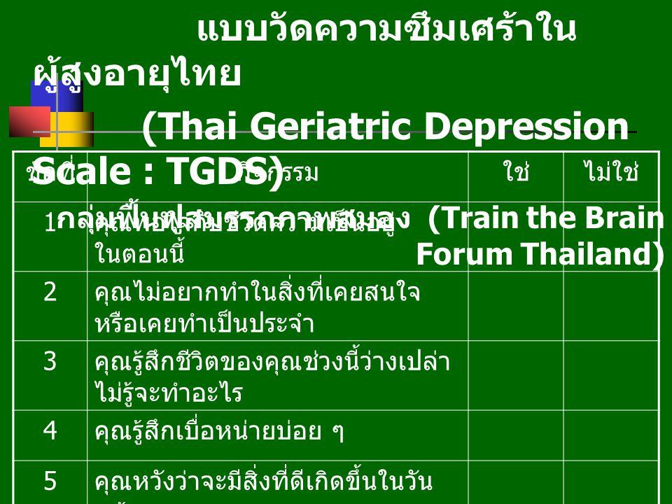 แบบวัดความซึมเศร้าในผู้สูงอายุไทย