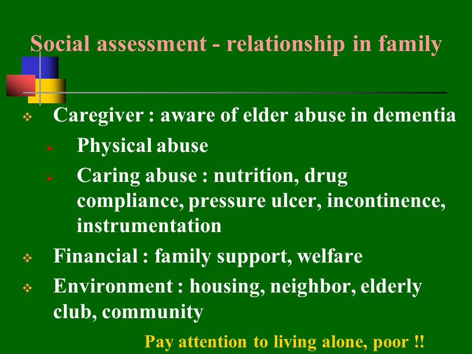 Social assessment - relationship in family