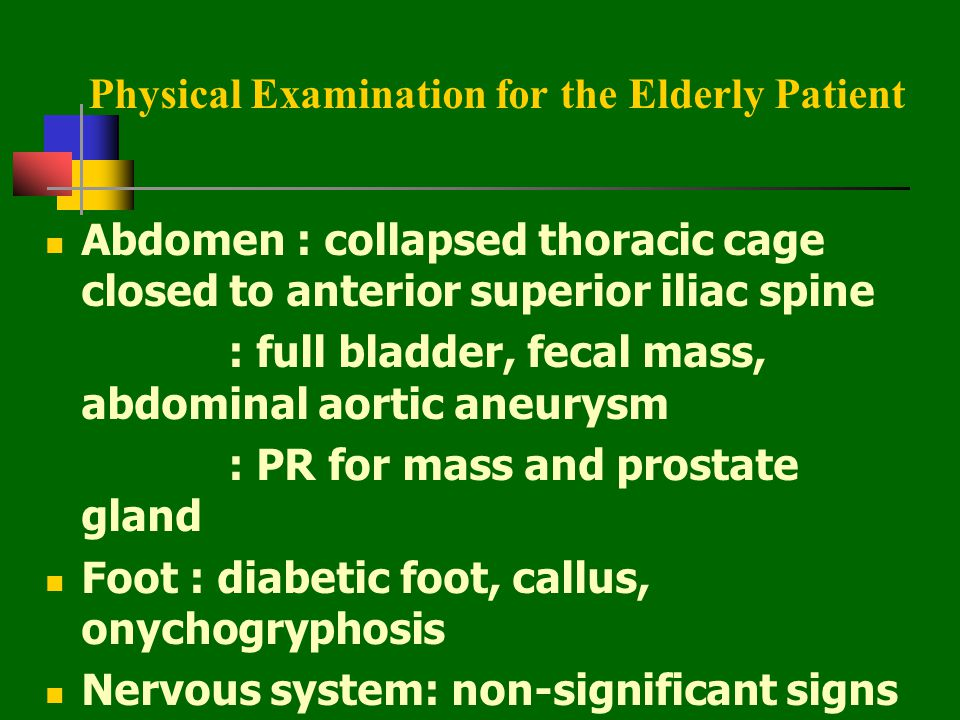 Physical Examination for the Elderly Patient