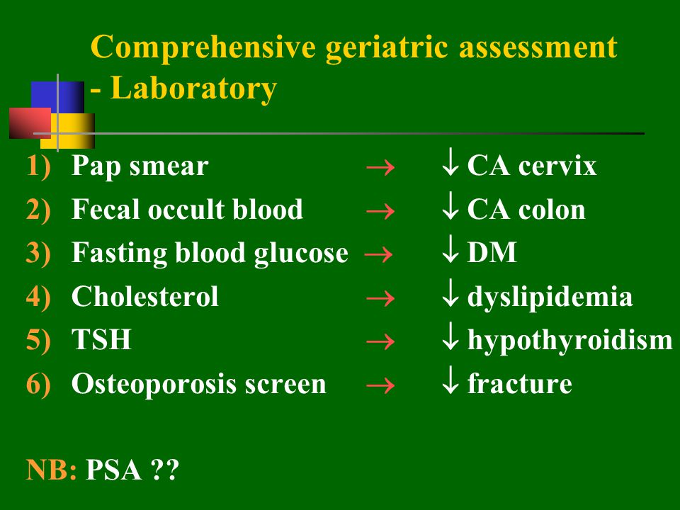 Comprehensive geriatric assessment - Laboratory